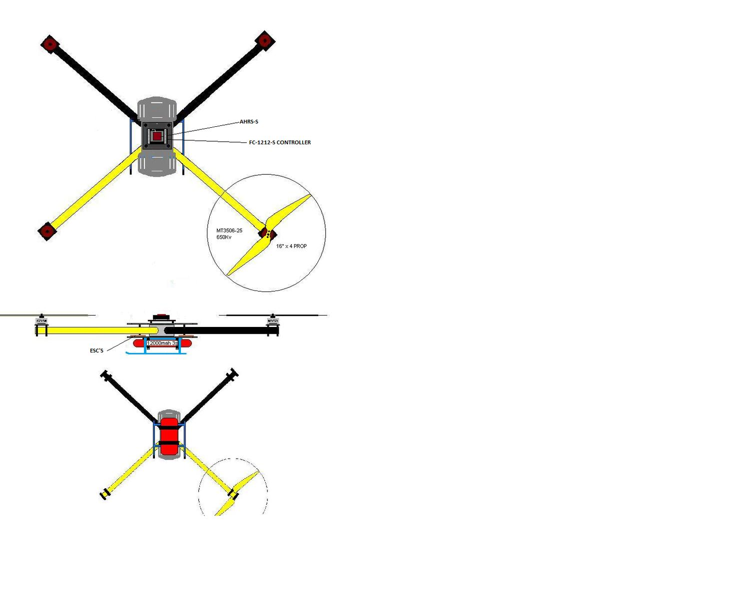 Name: X-Spider with S-series FC.jpg Views: 314 Size: 59.1 KB Description: FC-1212-S with AHRS only is good choice due to very low power use and when tuned to frame will hover for long periods without adjustments which is critical in reducing power consumption to minimum during hover flight.