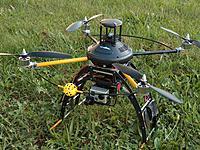 "Name: 8 28 2012  landing skids ready for testing 001.jpg Views: 274 Size: 325.8 KB Description: V2 with full battle dress.  ""Dewey"""