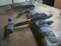 Name: photo(102).jpg Views: 543 Size: 124.0 KB Description: Here she is next to my CMP BF 109. Like I did with the CMP 109, I will eventually glass and repaint the 110 with more accurate Luftwaffe colors.