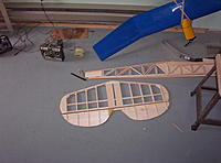 """Name: Building Biplane2 003.jpg Views: 109 Size: 1.15 MB Description: The planes have solid balsa elevators here I have 1/8"""" sheet with 1/8"""" X1/4"""" spruce leading edges and small balsa ribs"""