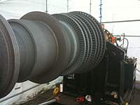 """Name: IMG_0272.jpg Views: 124 Size: 55.0 KB Description: 150 ton rotor of a steam turbine that I'm currently machining somewhere in Arizona. It takes a 140"""" lathe to accommodate it to machine it."""