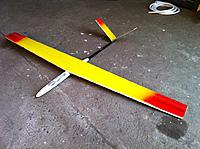 """Name: joshs photos 146.jpg Views: 48 Size: 161.0 KB Description: what I was flying yesterday. Its an art hobby fuse with home made wing (52"""") and tail. Its about 500g and flies nice and fast!"""