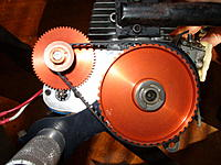 Name: Byron Reduction Unit 019.jpg Views: 16 Size: 77.8 KB Description: Rear view of the starter reduction and final belt drive.  The big gear has a one-way bearing.