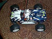 Name: Rc18t spaltter.jpg Views: 230 Size: 84.9 KB Description: my most fave spray work, the cow splatter, using ford blue and ultra white, here she is fitted with expensive esc and 8000kv brushless micro motor