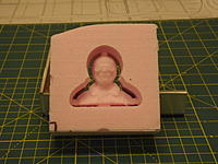"""Name: DSCF5935 Resized.JPG Views: 51 Size: 419.8 KB Description: Raymond 1 carved into a 1.5"""" thick piece of pink foam."""