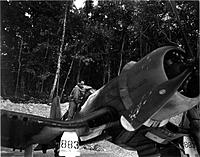 Name: VMF-214 CO Boyington at Barakoma Airstrip on Vella LaVella Island.jpg