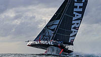 """Name: Charal--very-high  Belou facebook.jpg Views: 25 Size: 75.7 KB Description: IMOCA 60 Charal-class rules prevent using rudder t-foils that would allow these """"foil assist"""" boats to really fly."""