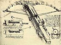 "Name: DaVinci Crossbow.jpg Views: 635 Size: 101.1 KB Description: DaVinci's massive crossbow design. (Truly a weapon of ""mass destruction""!)"