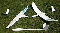 Name: Polyhedral and aileron wing variations.jpg Views: 466 Size: 94.8 KB Description: Polyhedral and aileron wing variations as flown in videos. Bare fuselage at bottom of photo awaits yet another wing!