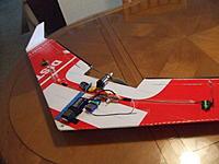 "Name: DSCF6786.JPG Views: 9 Size: 1.41 MB Description: KFm Wing - 48"" coroplast -   V2 has more carbon fiber"