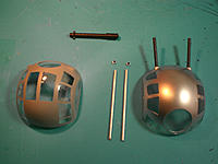 Name: CIMG3428.jpg Views: 233 Size: 179.4 KB Description: Bugman's ball turret on left (masked and painted) with aluminum .50 cals. Small rings are glued towards tip to create muzzle break. Note the large kit cannons.
