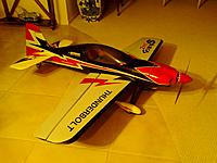 """Name: Sbachrim.jpg Views: 111 Size: 150.6 KB Description: Mods so far: Rimfire .32 outrunner, Turnigy Plush 80amp ESC, DuBro #957 Tailwheel Assembly, DuBro 2 3/4"""" Spinner, 14x7E APC Prop. All stock servos..for now..replace as they fail..hopefully not in flight?"""
