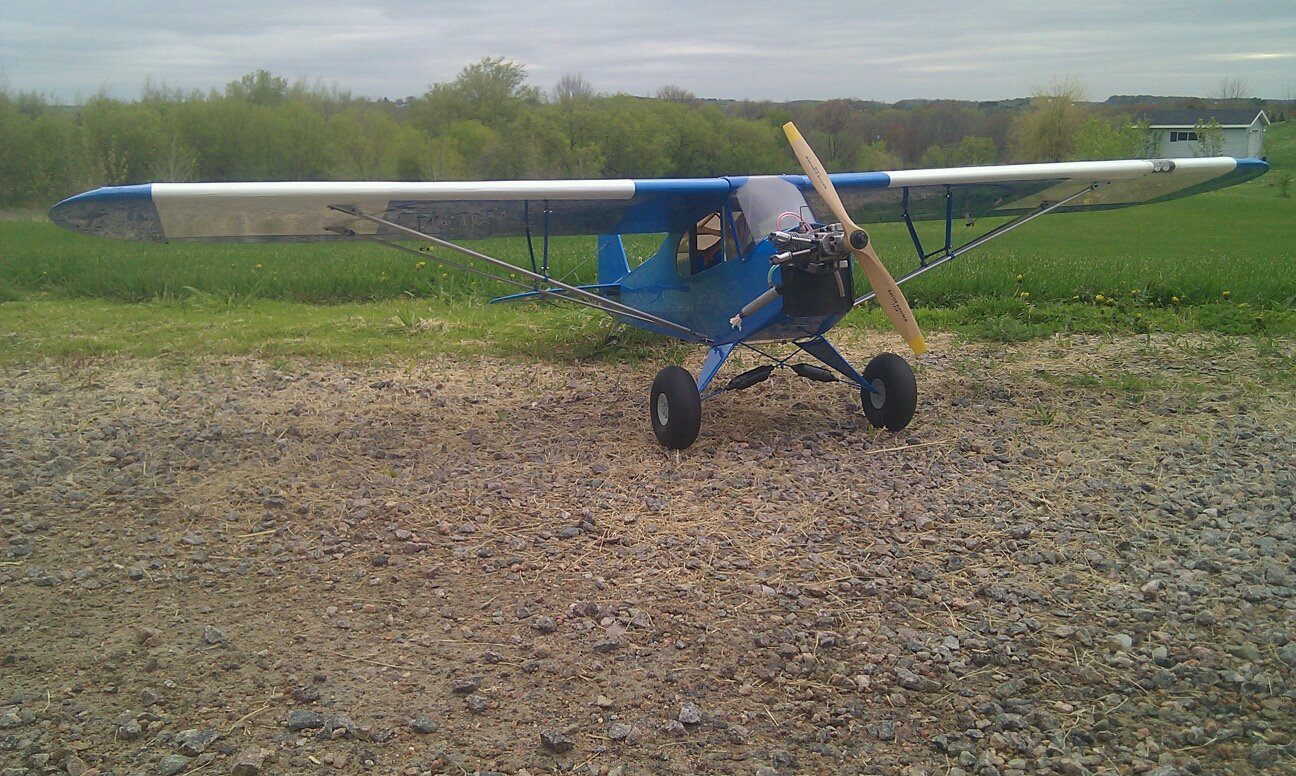 "Name: cub20123.jpg Views: 98 Size: 294.8 KB Description: hangar 9 cub 80""WS recovered and rebuilt"