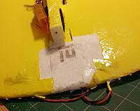 Name: repair area1.jpg Views: 12 Size: 91.8 KB Description: I removed the packing tape, sawed off the broken pink foam insulation that formed the fuse block and motor mount area and then sanded it smooth.