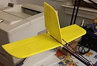 """Name: Franken Glider 3.jpg Views: 7 Size: 51.4 KB Description: New tape covered MPF Horizontal Stab and Elevator. Both feature CF rods for stiffness. The mounting technique is also from Experimental Airlines. I used 3/4"""" x 3/4"""" corner guard and  double sided foam tape to hold it to the CF arrow shaft boom."""