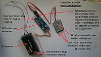 Name: Basic retract setup example.jpg Views: 431 Size: 371.3 KB Description: A basic setup using retract controller and gear sequencer