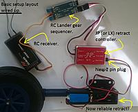 Name: New setup..jpg Views: 514 Size: 224.6 KB Description: An example of the new setup. Retract-> retract controller-> sequencer-> rc receiver.