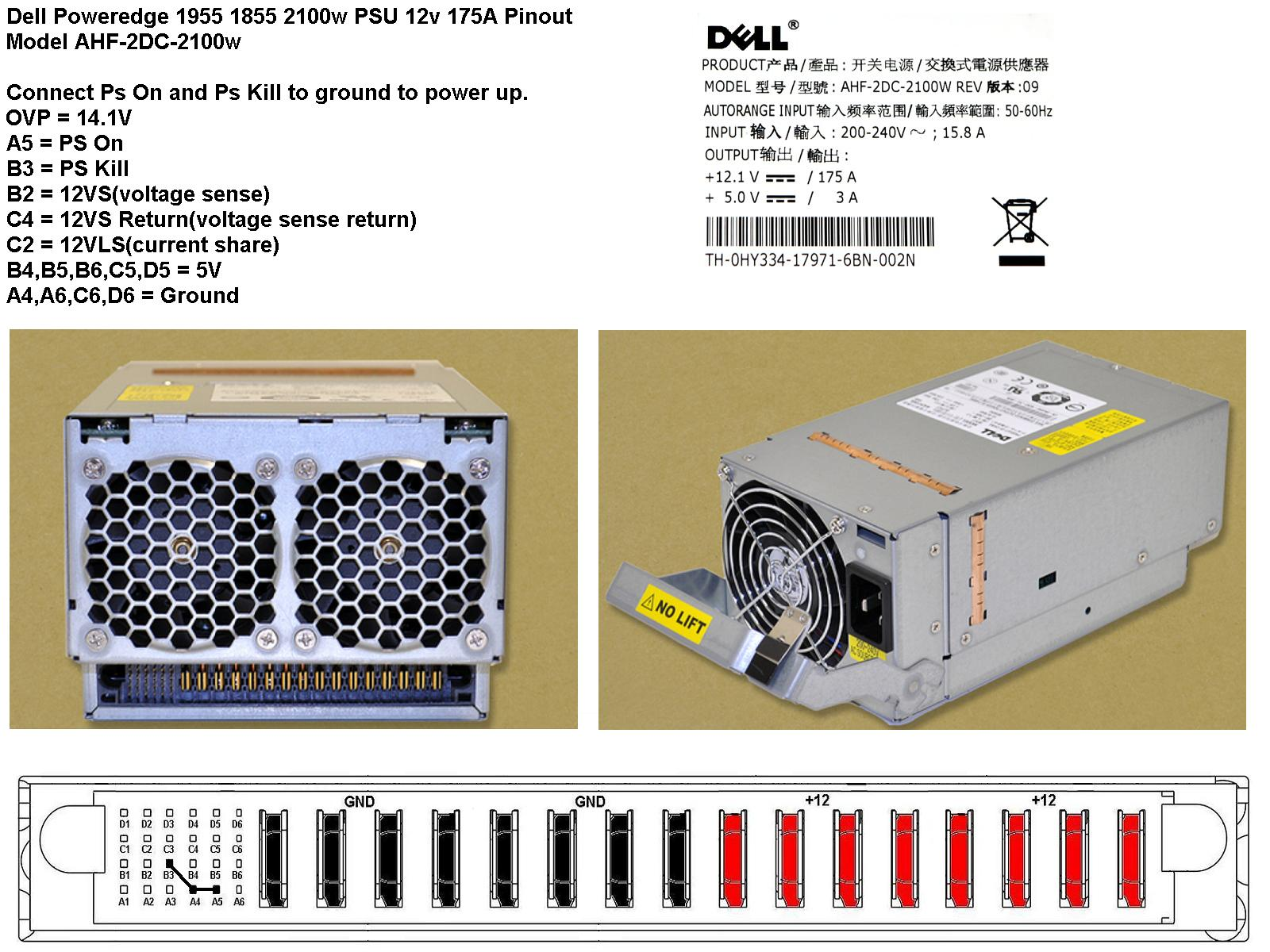 Server PSU - Dell Poweredge 1855 1955 PSU AHF-2DC NT750 2100W