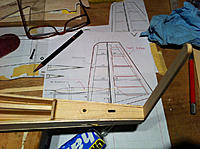 Name: IMG_3342.jpg Views: 114 Size: 178.6 KB Description: Cut hole to drop down a piece os basswood for leading edge of rudder. Thought this was needed for strength instead of balsa.