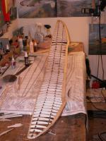 Name: Thermic72 009.jpg Views: 2148 Size: 97.4 KB Description: Wing is all done, ready for center-section sheeting and shaping of the edges.  Lightweight design!  Spars are hard balsa, so no winch launches for this old-timer model!