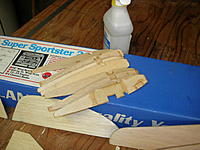 Name: sportster20A 004.jpg Views: 113 Size: 169.7 KB Description: One set of ribs for one wing is all that was ever glued.  Set up for Tricycle gear