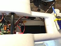 Name: Photo May 21, 10 56 17 AM.jpg Views: 51 Size: 324.2 KB Description: Battery bay, you can see the filter on the power lead for the vtx, hot glued to the side wall.