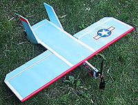 Name: BluFunder1.jpg Views: 276 Size: 96.2 KB Description: A simple yet fun aircraft model called a FunBat that is easy to fly slow and easy to construct.  As you can see there are few parts, but it also makes a great RC combat flyer.