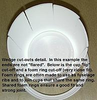 """Name: FW190NoseCupCuts.jpg Views: 211 Size: 41.4 KB Description: An example of the narrow wedge cuts that were needed to """"size"""" the fuselage skin, and some parts that can be made from foam cups."""