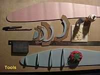 Name: TitanFuseTools1.jpg Views: 144 Size: 125.2 KB Description: Build the copy of the Titan fuselage and some of the tools I used.  Notice the ceramic tile with wax paper for a glue pallet.