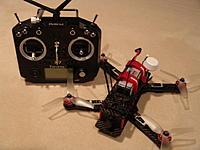 Name: DSC07422.JPG Views: 64 Size: 139.8 KB Description: Test platform.  FrSky Taranis Q X7 and Arris 250 race quadcopter.