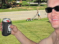 Name: Wifey Mows Lawn.jpg Views: 361 Size: 120.1 KB Description: One perk to not being able to walk is having your wife mow the lawn while you sit back and enjoy a cold one!
