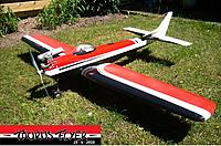 """Name: 3 juni 2010 name and date.jpg Views: 99 Size: 310.6 KB Description: Replica of the """"commercial"""" Top Flite Taurus, painted in colors of the NATS 1962 Champion Ed Kazmirski."""