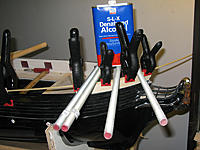 """Name: tm92b.jpg Views: 82 Size: 151.6 KB Description: Bending and gluing the poplar handrail.  Going for that """"Most ad hoc clamping setup ever"""" award"""