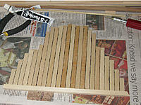 Name: tm96b.jpg Views: 71 Size: 209.9 KB Description: Over-planking the forecastle deck's 1/8 inch birch plywood.  Sanded to fit.