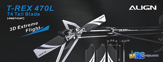 Trex 470L 74 Tail Blades