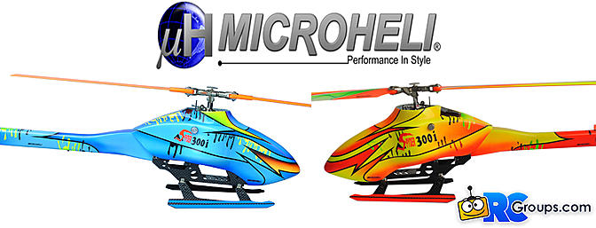 Microheli Electric Orange/Blue Lightning 300 Class Helicopter