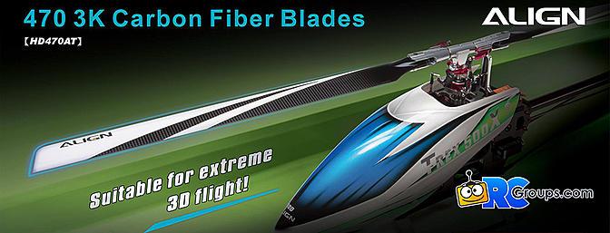 ALIGN 470 3K Carbon Fiber Blades