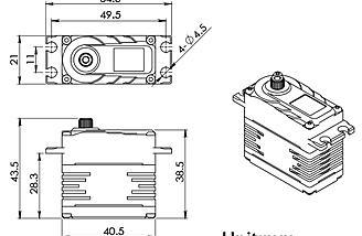 Helical Gear Servos BLS-H50C/BLS-H50B Dimensions