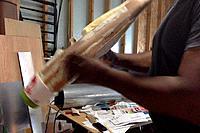 Name: 8-17-16 Coarse sanding the PU Expanding foam, wood longerons and diatom spackle-fill.jpg Views: 29 Size: 214.5 KB Description: