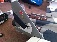 Name: su35 bphoto 3.jpg Views: 488 Size: 171.9 KB Description: Snug and secure. No support strip running legnth of rudder, carbon rod/strip is definitely a must to add.