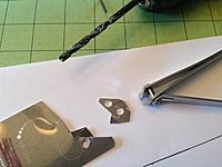 """Name: OSK52.jpg Views: 113 Size: 628.0 KB Description: Plastic washers:  I found another use for old c-card or hotel-key plastic. I just drilled the 3/16"""" holes, and then used nail clippers to trim them into a rough circle."""