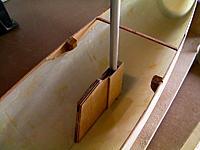 Name: v's fin, mast case.jpg Views: 97 Size: 117.8 KB Description: mast, fin case, Teak shroud blocks and temp hull stiffener