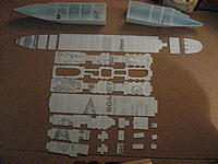"""Name: all_Parts.jpg Views: 444 Size: 293.3 KB Description: All of the individual parts of my model's superstructure. Made of Dow chemical company ¼"""" insulation fan fold foam. -The front and back of the hull are now folded into shape."""