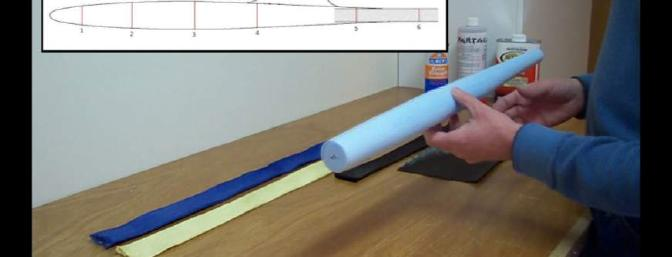 The Lost Foam pod has been shaped/sanded.  Curtis shows an easy way to make the form.
