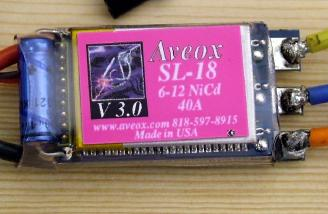 Closeup of Aveox SL-18 controller. Note that this is a Nickel chemistry designed ESC and should be used with caution and attention to the motor cutoff.