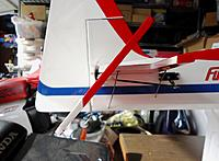 Name: MFX Elev Mod_14.jpg Views: 57 Size: 213.1 KB Description: MFX elev CF splint mod at full 'down' deflection. Looks okay there so let's go flying...