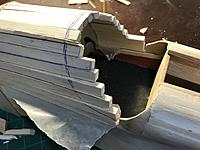 The cowl shows the build up of 1/4 in. deep by 3/8 in. wide strips. I don't have a balsa stripper with angles. That would be nice to have. I just have a Xacto knife, metal ruler and sandpaper block.