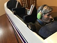 Close up shows scale-like seatbacks and the magnet holders. Note that the magnets were sunk to allow the canopy magnets to slip into the holes. The pilot figure is modeled to honor Burt Rutan.