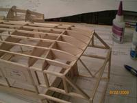 """Name: AIRPLANE 073.jpg Views: 137 Size: 56.4 KB Description: Another view of the """"forehead"""" of the airplane. F9 were sanded where they protuded above the stringers. It is looking nice. I can the curves and shapes taking place. I like it."""