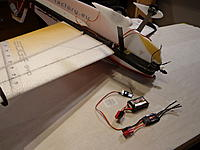 Name: DSC02753.jpg Views: 828 Size: 169.6 KB Description: Electronics Assembly - Goal is to get the battery to install at the CG point, that way various sizes can be used at the same location. Install ESC towards the nose.